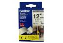 BROTHER TZ-ES231 / TZ-S231 Наклейка ламинированная повышенной адгезии  (черный шрифт / белая лента) 12 мм  х 8 м